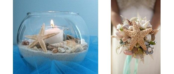 Buchet de mireasa si aranjament de masa pentru o nunta cu tema marina