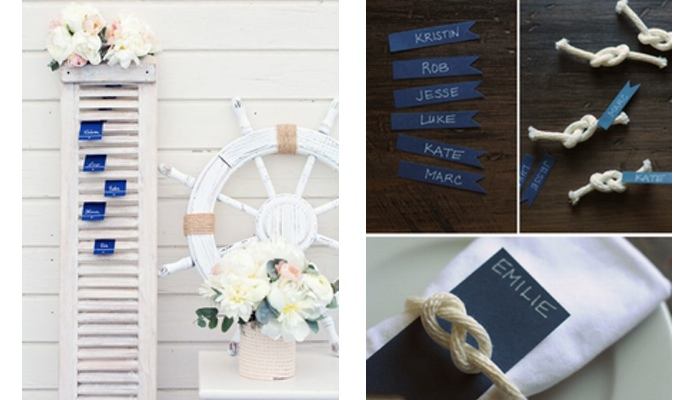 Lista de invitati si escord cards pentru o nunta cu tema marina