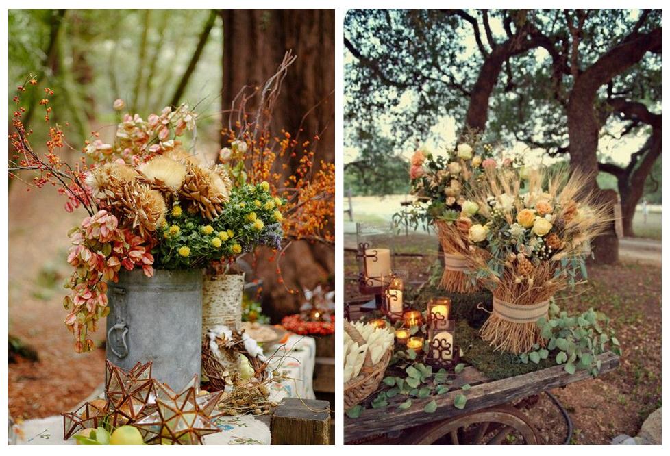 decor intrare nunta rustica de toamna