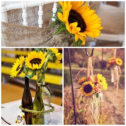 Idei decor pentru o nunta cu tema floarea-soarelui