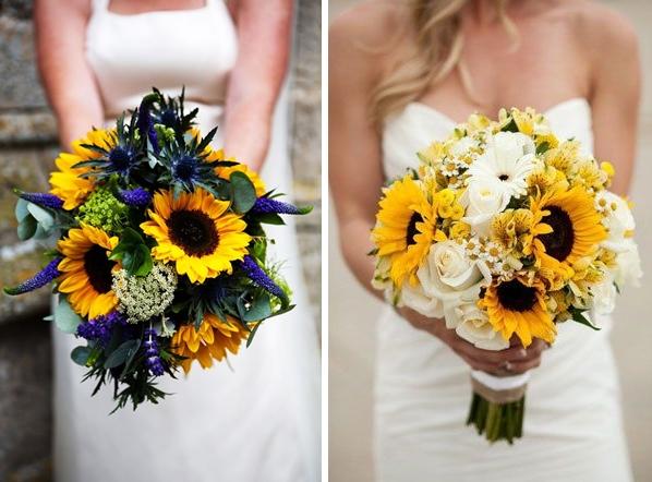 Idei buchet de mireasa pentru o nunta cu tema floarea soarelui