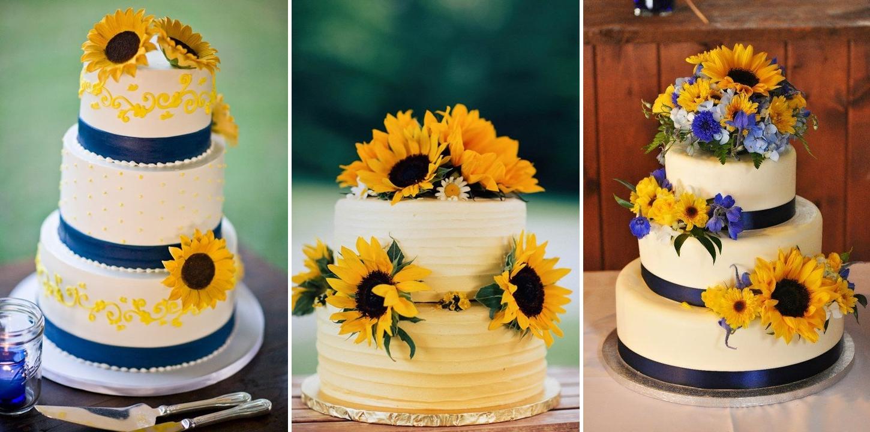 Modele tort pentro nunta cu tema floarea soarelui