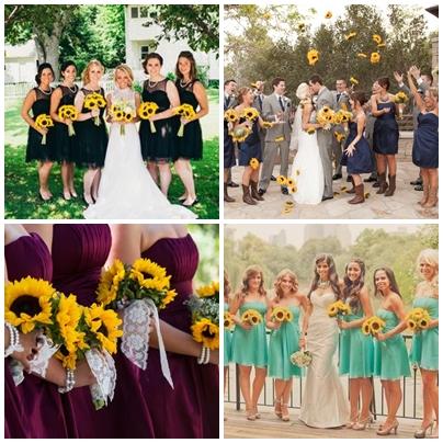 Idei de rochii domnisoare de onoare pentru o nunta cu tema floarea soarelui