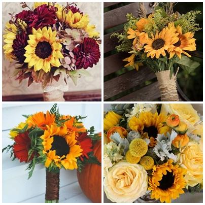 Idei de buchet de mireasa pentru o nunta cu tema floarea soarelui