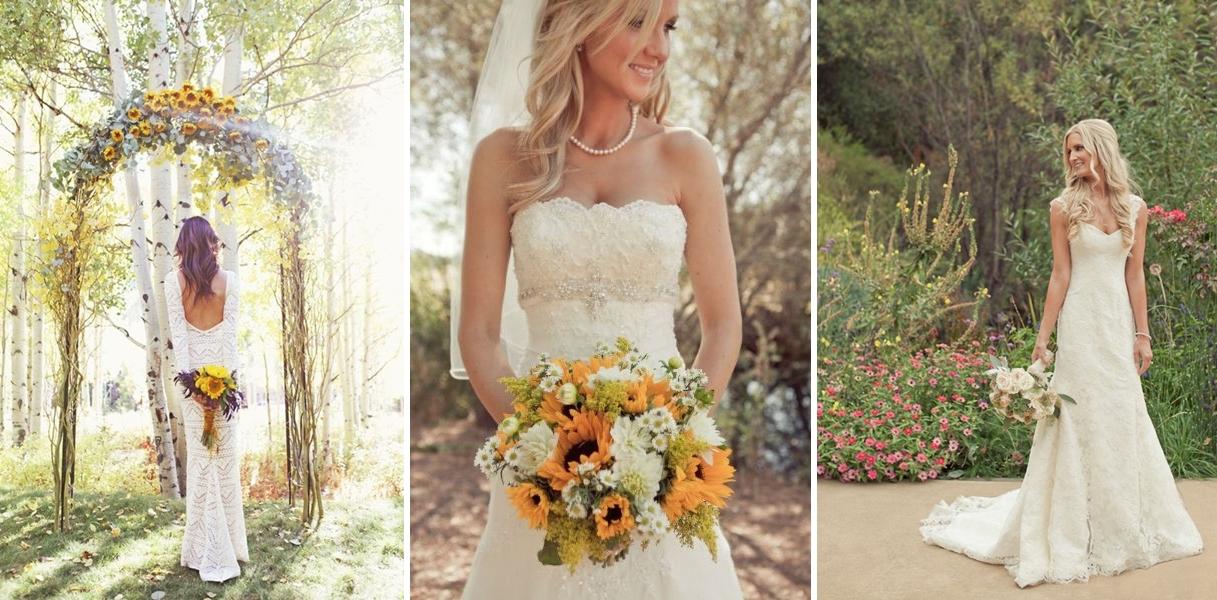 Modele rochii de mireasa pentru o nunta cu tema floarea soarelui