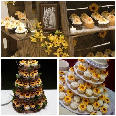 Candy bar pentru o nunta cu tema floarea soarelui