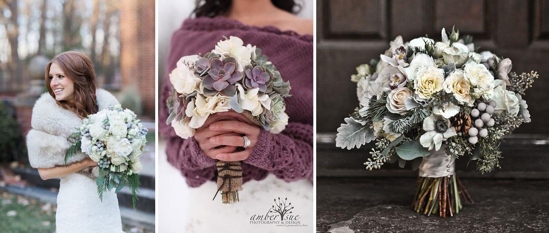 Buchet de mireasa pentru nunta iarna cu tema Winter Wonderland