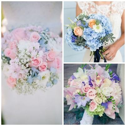 Buchete de mireasa pentru o nunta organizata in culorile anului 2016 - roz quartz si albastru seren