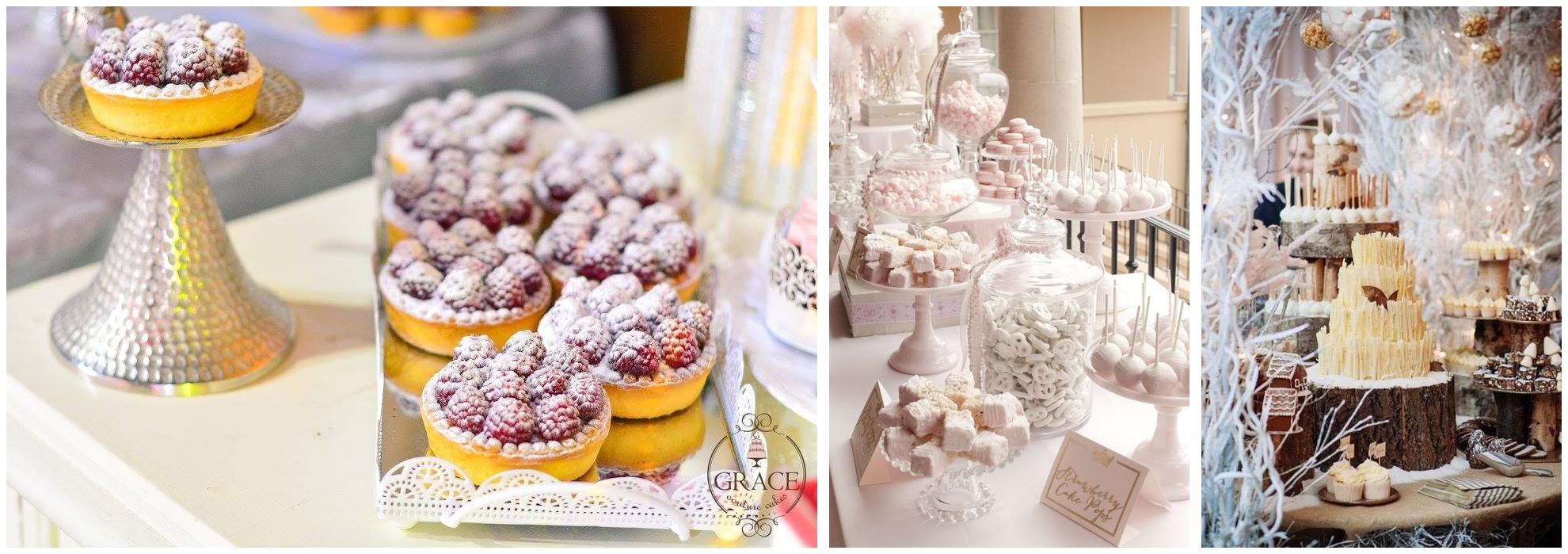 Candy bar pentru nunta de iarna cu tema Winter Wonderland