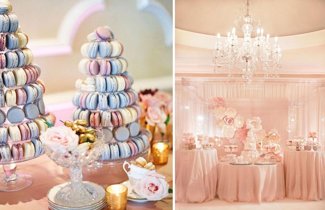Candy bar pentru o nunta organizata in culorile anului 2016 - roz quartz si albastru seren