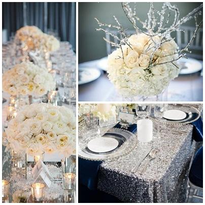 Decor argintiu pentru nunta de iarna cu tema Winter Wonderland