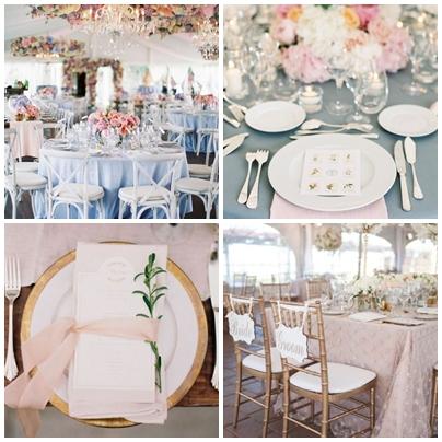 Idei de decor pentru o nunta in culorile anului 2016 - roz quartz si albastru seren