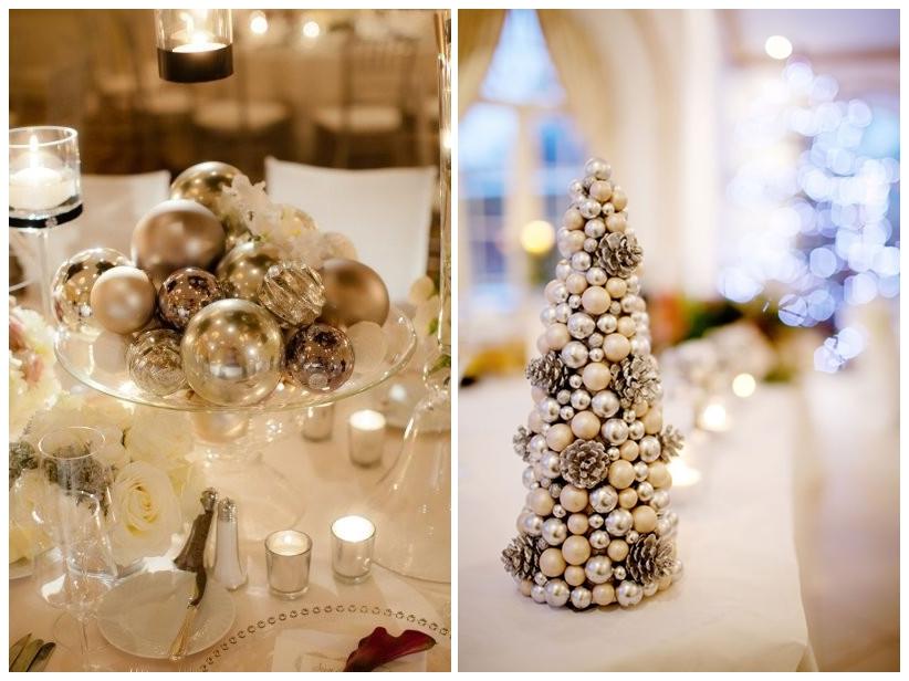 Decor auriu pentru nunta de iarna cu tema Winter Wonderland