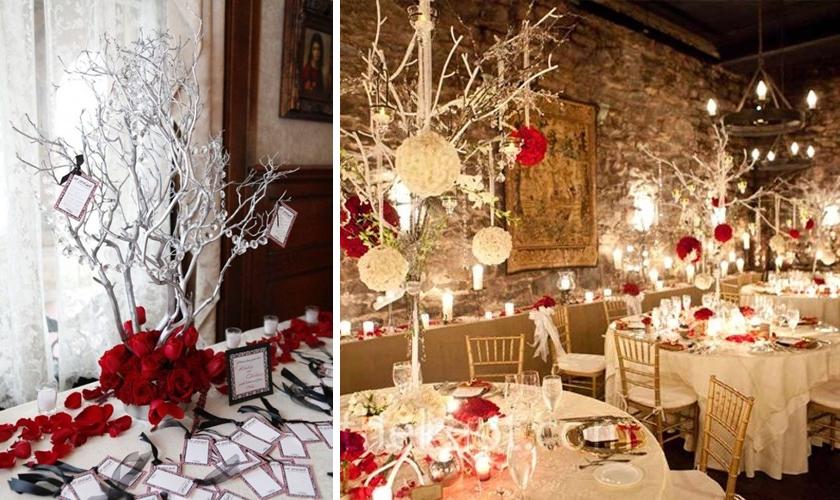 Decor rosu pentru o nunta de iarna cu tema Winter Wonderland