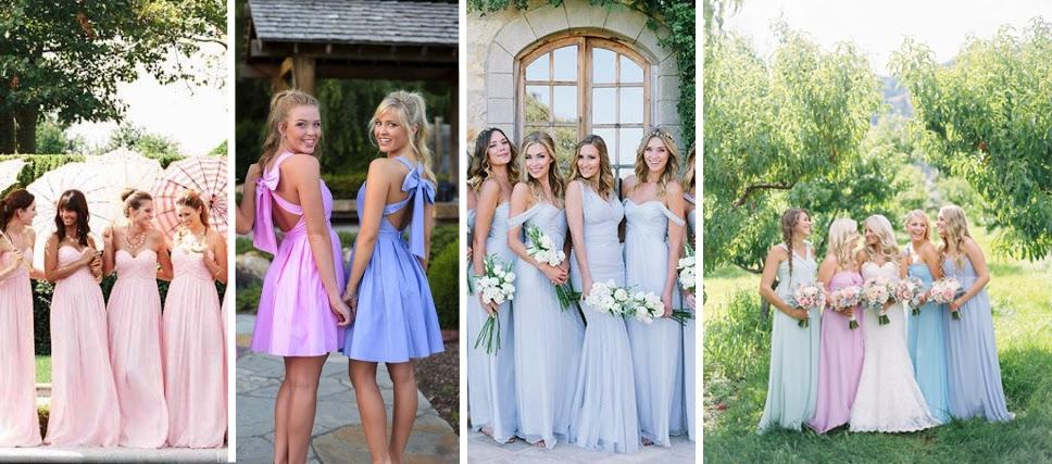 Modele rochii domnisoare de onoare pentru o nunta organizata in culorile anului 2016 - roz quartz si albastru seren