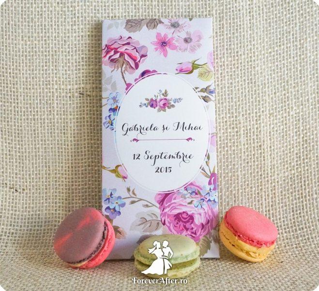 Invitatii de nunta cutie cu ciocolata pentru nunti in culoarea anului 2016 - roz quartz si albastru seren