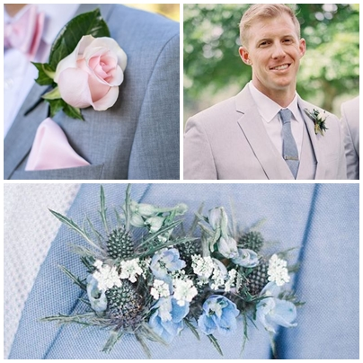 Costum mire pentru o nunta organizata in culorile anului 2016 - roz quartz si albastru seren