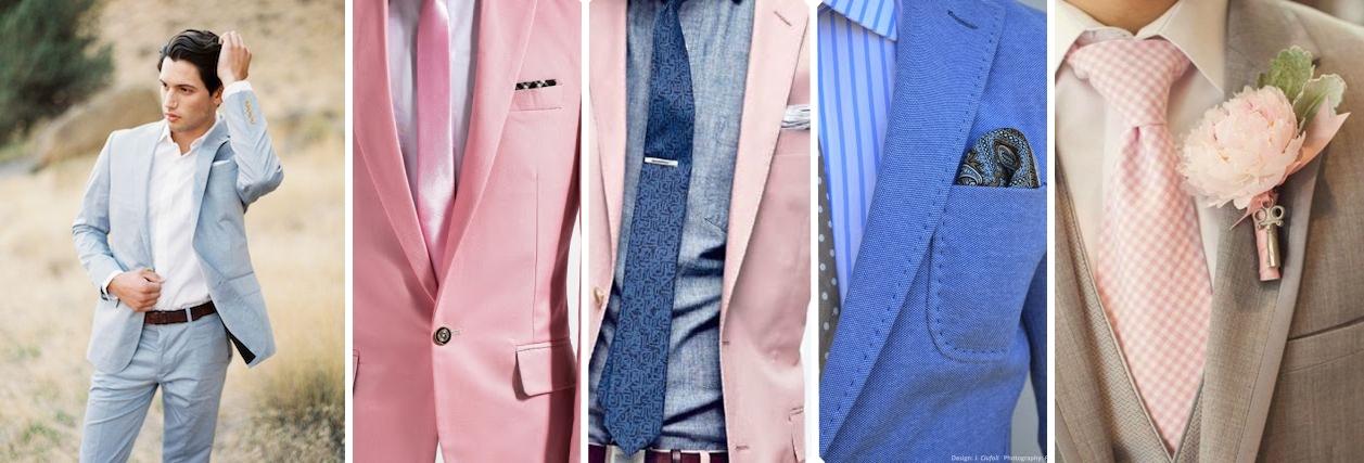 Idei costum mire pentru o nunta organizata in culorile anului 2016 - roz quartz si albastru seren