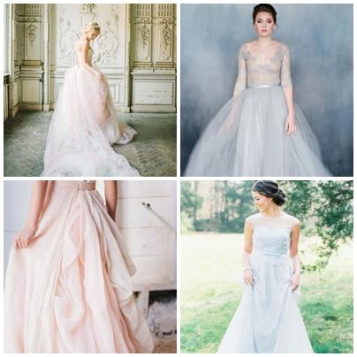 Modele rochii de mireasa pentru o nunta organizata in culorile anului 2016 - roz quartz si albastru seren