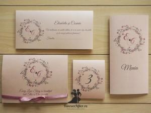 Invitatii si accesorii de nunta Our Love Story pentru nunti in culorile anului 2016 - roz quartz si albastru seren