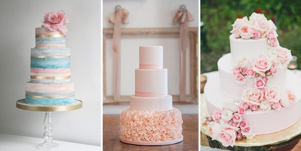 Tort pentru o nunta organizata in culorile anului 2016 - roz quartz si albastru seren