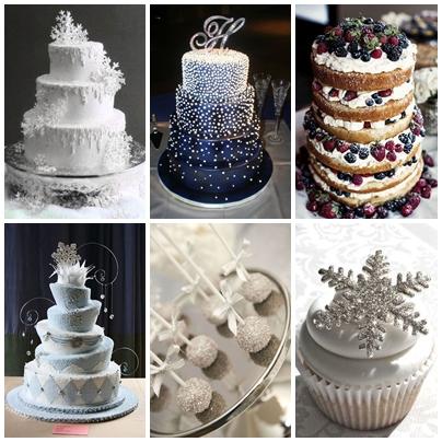 Tort pentru nunta de iarna cu tema Winter Wonderland