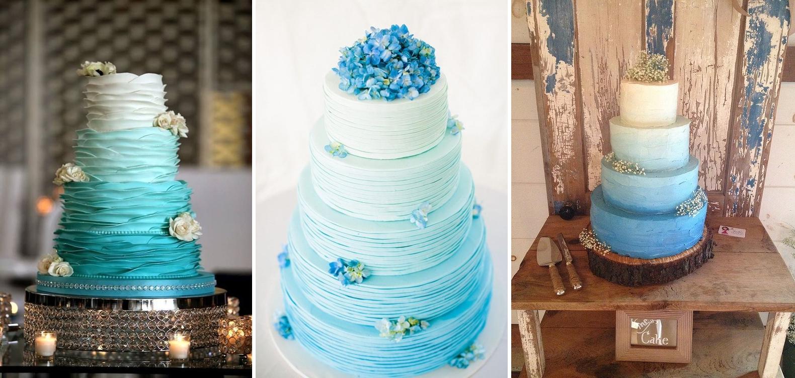 Idei tort pentru o nunta ombre in nuante de albastru
