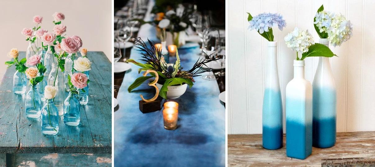 Idei decor nunta ombre in nuante de albastru