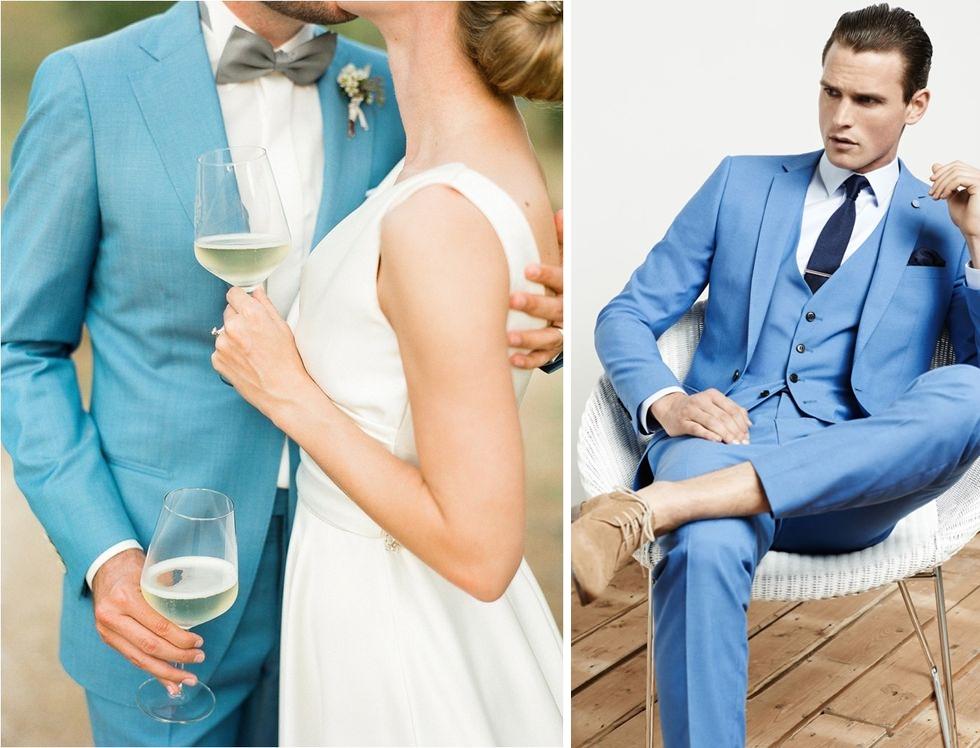 Idei tinuta mire pentru nunta ombre in nuante de albastru