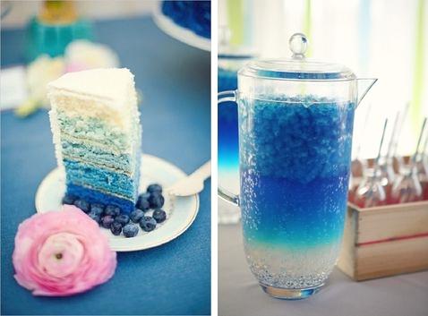 Idei candy bar pentru o nunta ombre in nuante de albastru