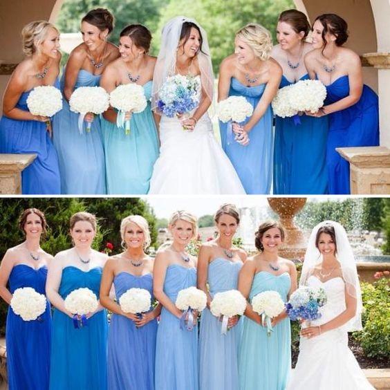 Idei rochii domnisoare de onoare pentru nunta ombre in nuante de albastru